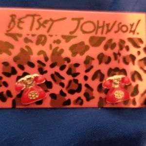 BETSEY JOHNSON MINI TELEPHONE earrings NWT